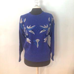 Vintage 1980s Embellished Blue Sweater M